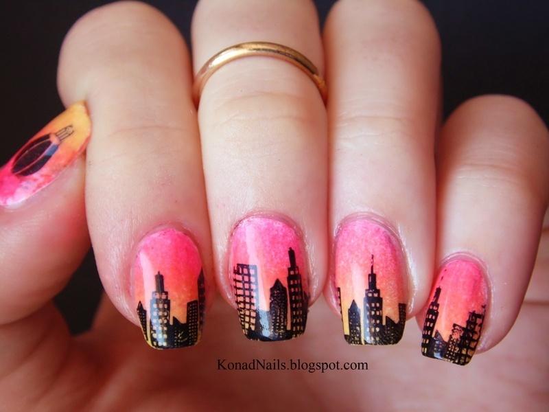 CIty skyline nail art by KonadAddict