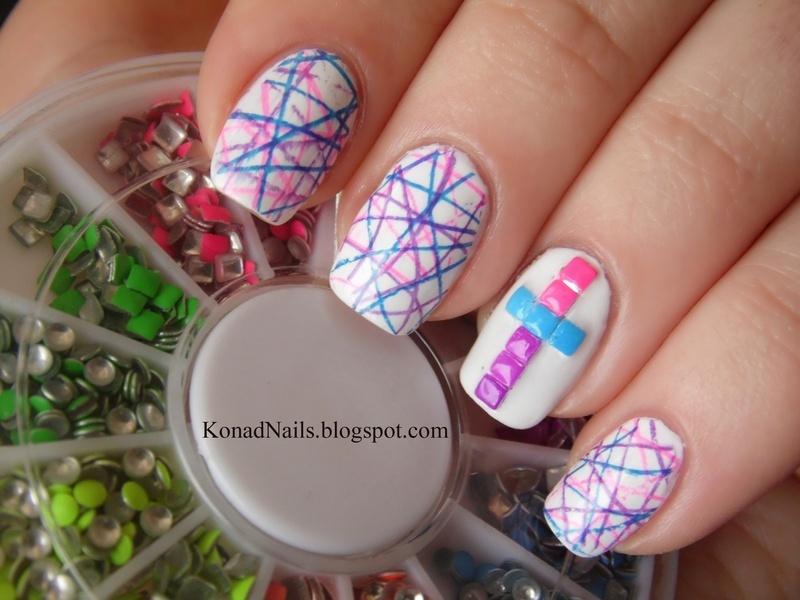 Neon studded nail art nail art by KonadAddict