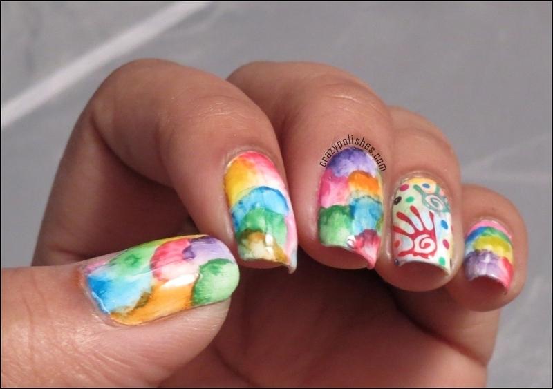 Watercolor Nail Art Nail Art By Crazypolishes Dimpal Nailpolis