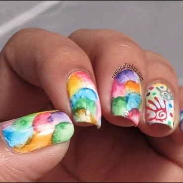 Watercolor nail art nail art by CrazyPolishes (Dimpal)