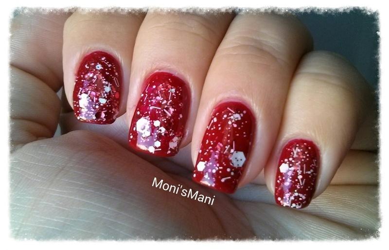 red Mani with graffiti topcoat detail nail art by Moni'sMani