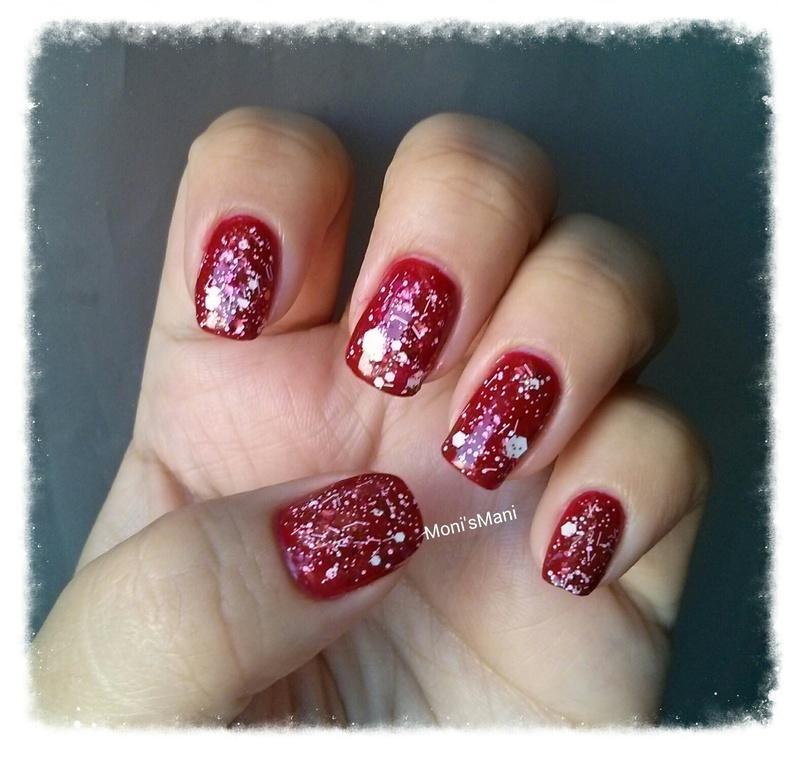 red Mani with graffiti topcoat  nail art by Moni'sMani