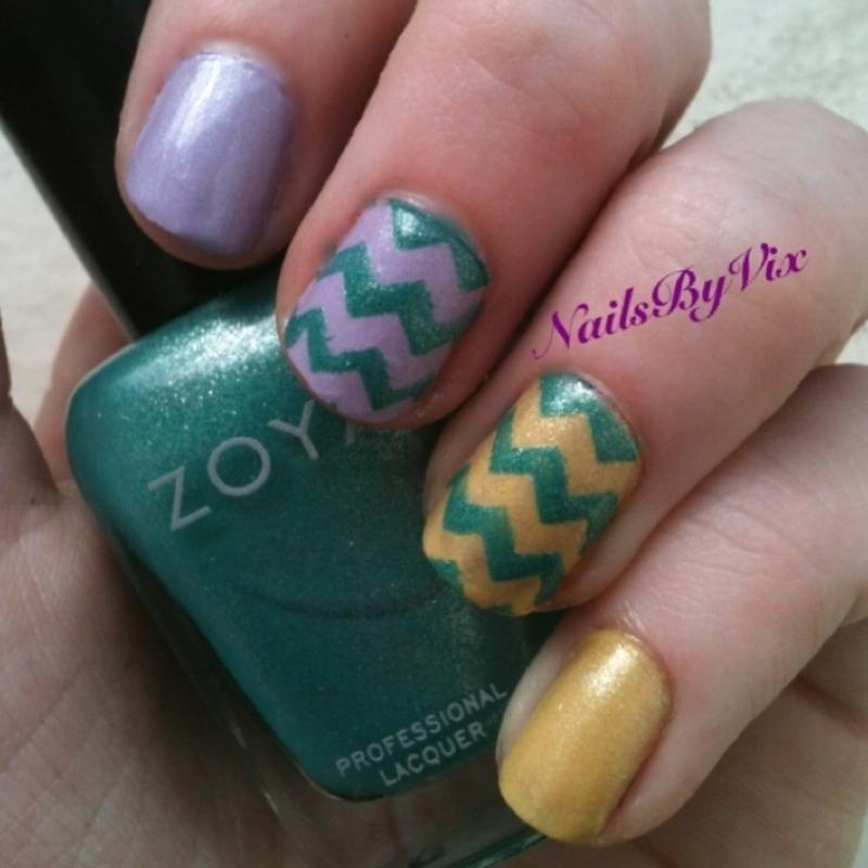 Spring Chevron nail art by Victoria Lynn