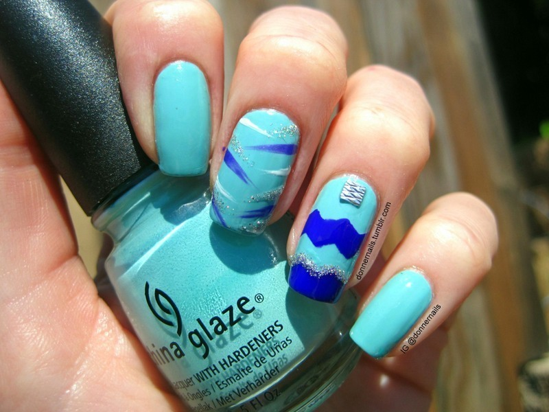 Tiffany Blue nail art by Donner