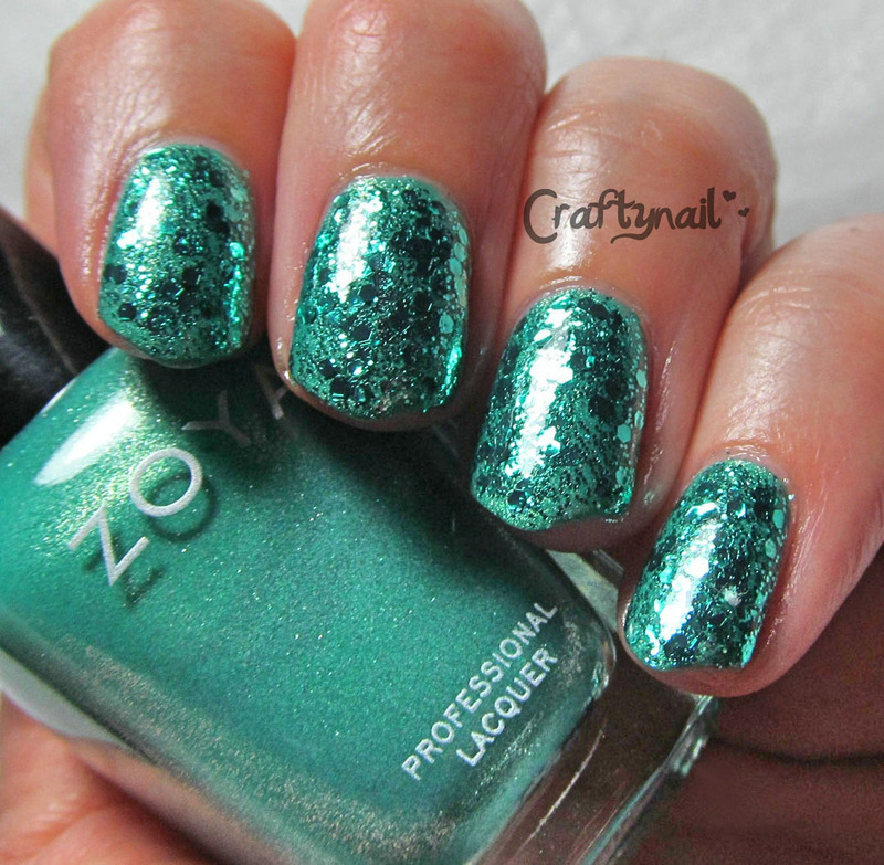 Glittertastic Teal Nails nail art by Jacqui D.