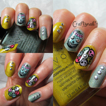 Aliens and Skulls nail art by Jacqui D.