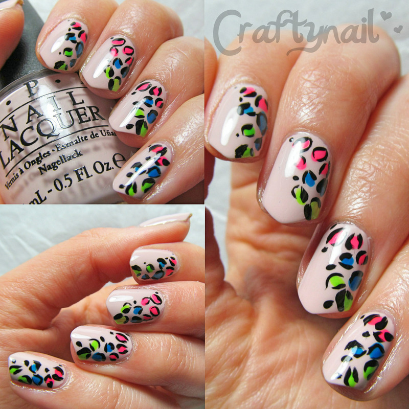 Nude and Neon Leopard nail art by Jacqui D.