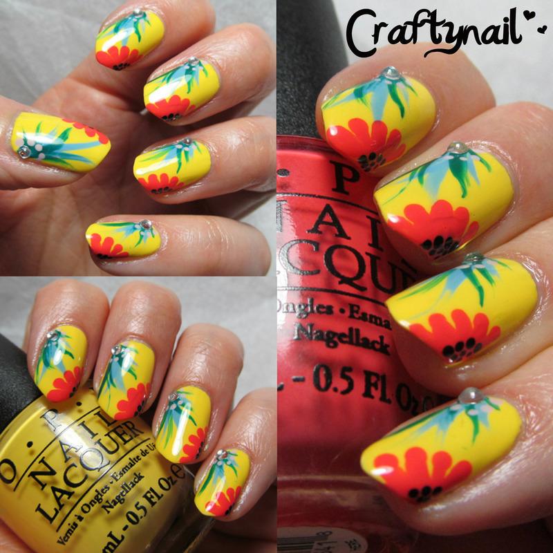 OPI Brazil Floral Nails nail art by Jacqui D.