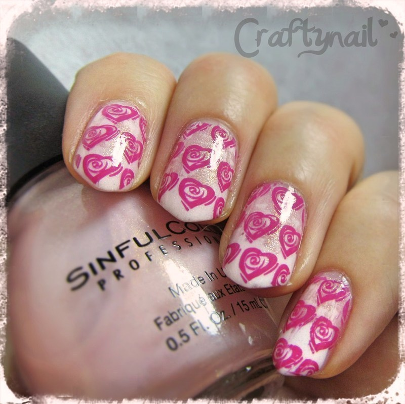 Rosy Heart Stamps nail art by Jacqui D.