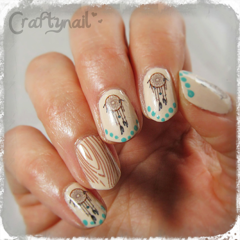 Dreamcatcher Decals with Woodgrain Accent nail art by Jacqui D ...