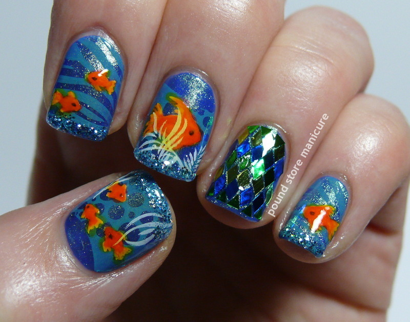 Fish Fingers nail art by Pound Store Manicure