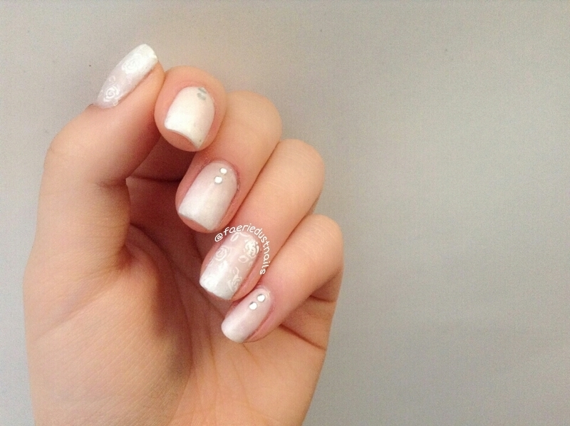 Simple Gradient Nails with Rose Accents nail art by Shirley X.