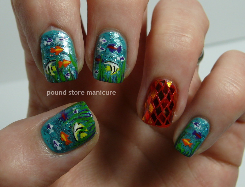 Aquarium nail art by Pound Store Manicure