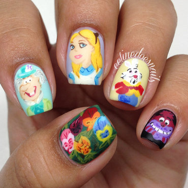 Alice in Wonderland Nail Art nail art by Celine Peña