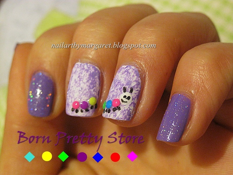 Neonowa stonoga nail art by Margaret Nail Art