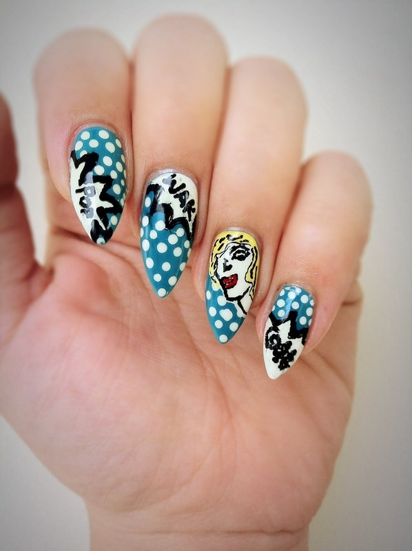Comic Nails  nail art by Stacey Lee  Warren