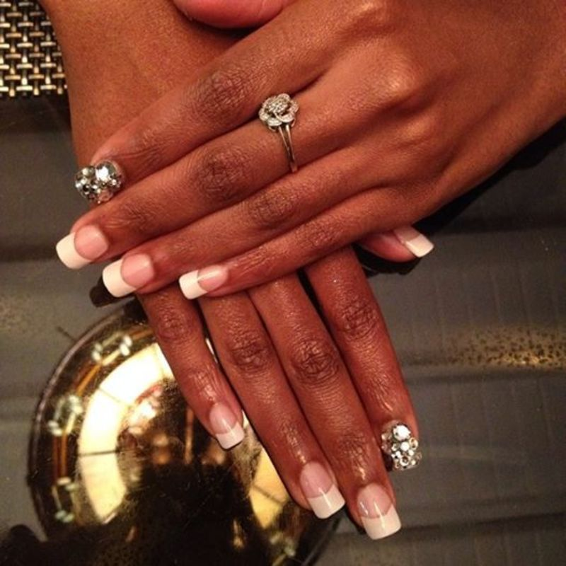 french accent nail art by Vanessa Nesbitt