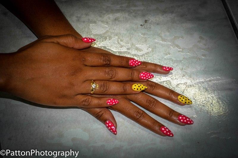 vintage polka nail art by Vanessa Nesbitt