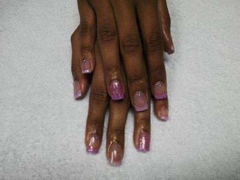 lilac french accent nail art by Vanessa Nesbitt