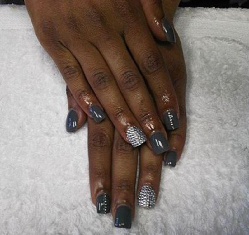 grey sade nail art by Vanessa Nesbitt