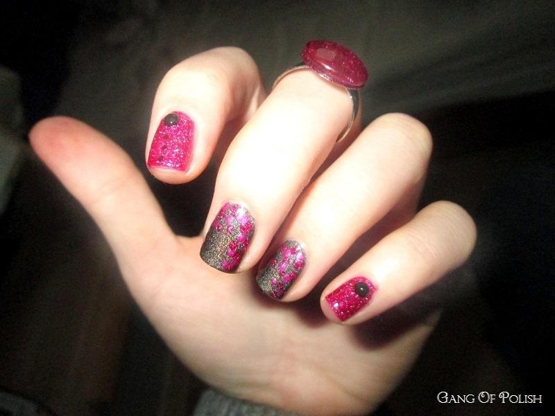 Pink Dots and Glitter nail art by Gang Of Polish