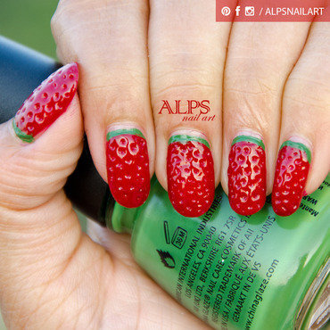 Strawberry Nails by Alpsnailart nail art by Alpsnailart
