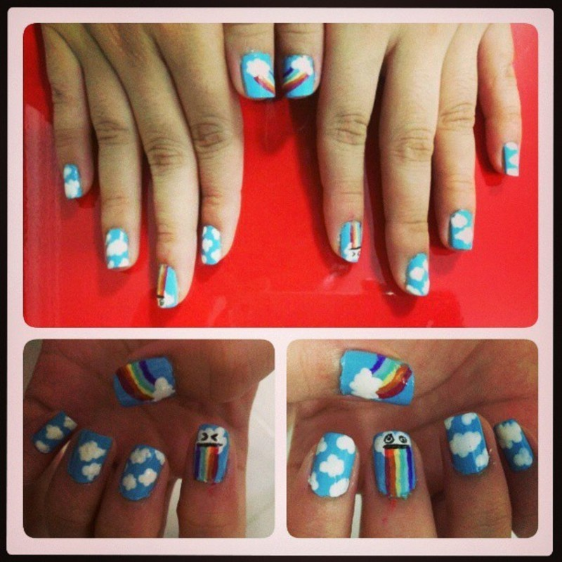 The clouds are puking rainbows ! nail art by JingTing Jaslynn