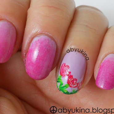 P Tulips nail art by Aby
