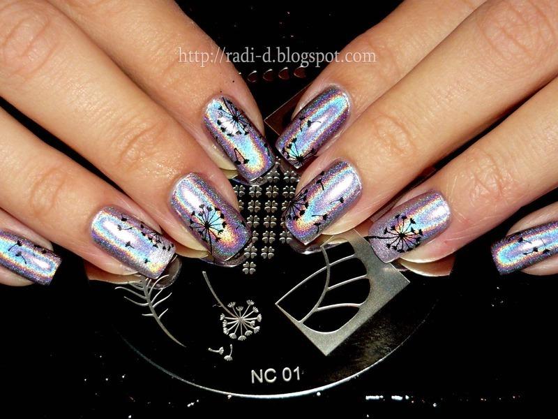 Holographic Dandelions nail art by Radi Dimitrova