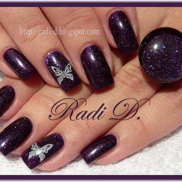 Purple with butterflies nail art by Radi Dimitrova