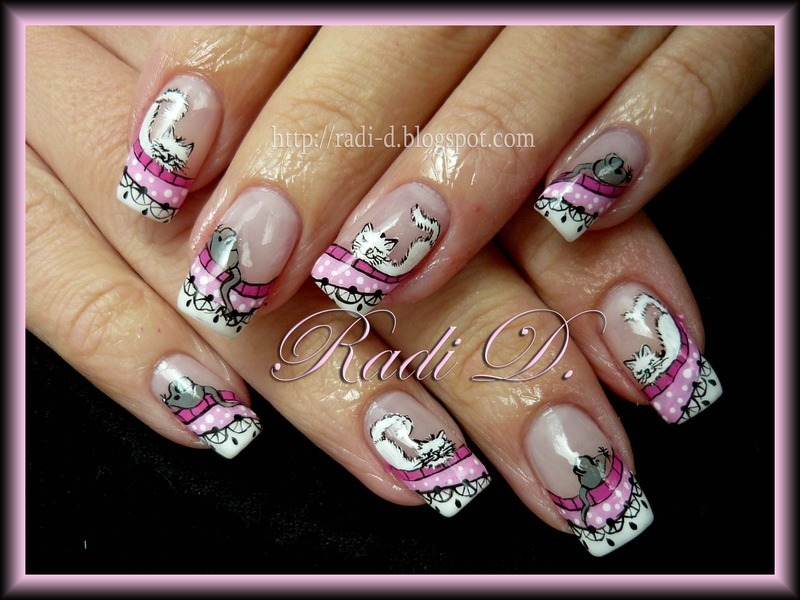 Cats & Mice nail art by Radi Dimitrova