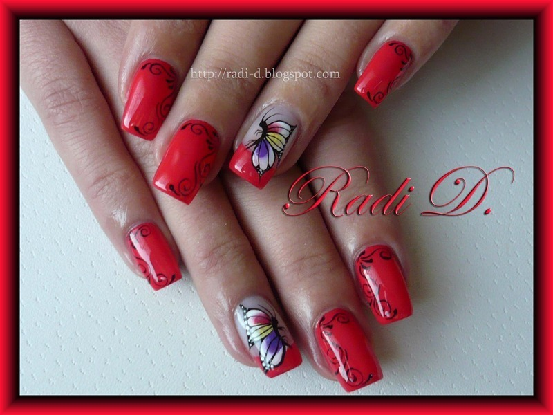 Coral with colourful butterfly nail art by Radi Dimitrova