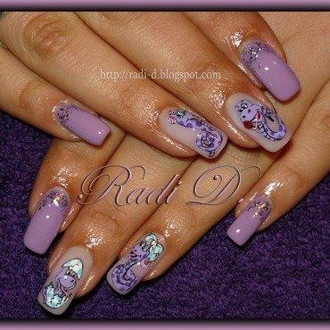 Purple Snakes nail art by Radi Dimitrova