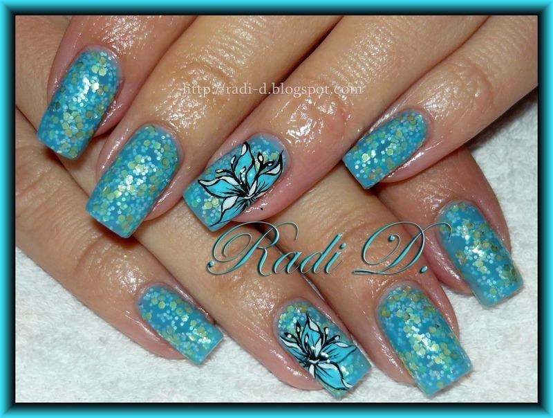 Blue Flowers nail art by Radi Dimitrova