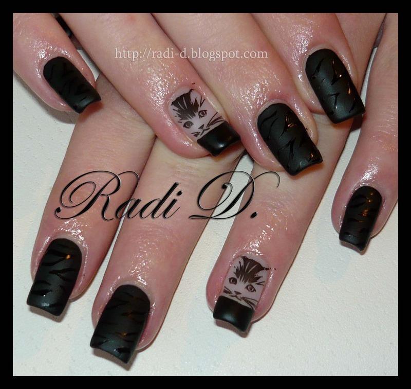 Black Cat matt nail art by Radi Dimitrova