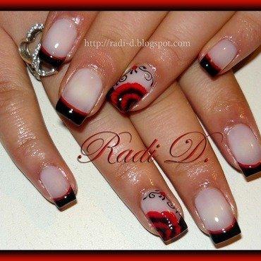 Black French Red Flower nail art by Radi Dimitrova