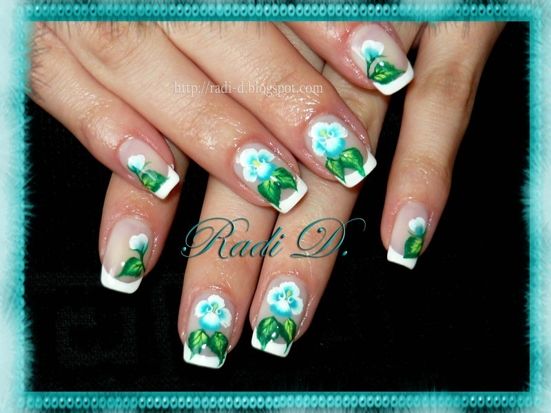 French with flowers nail art by Radi Dimitrova