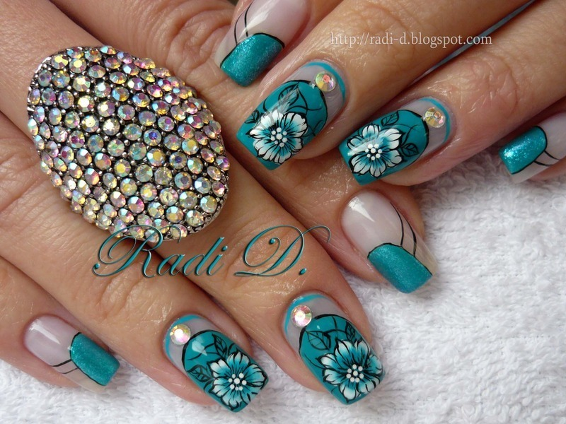 Turquoise Beauty nail art by Radi Dimitrova