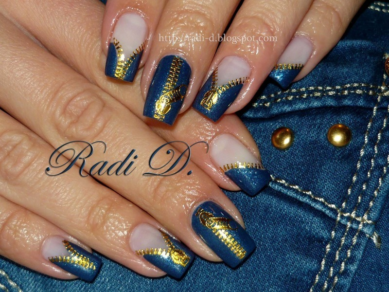Jeans on! nail art by Radi Dimitrova