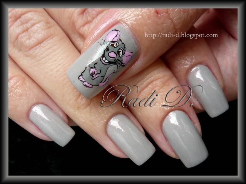 Ratatouille Remy nail art by Radi Dimitrova