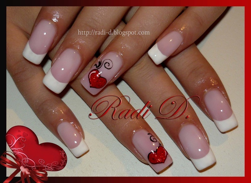 Red Hearts nail art by Radi Dimitrova