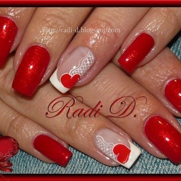 Heart nail art by Radi Dimitrova