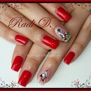 Swallow & Stork nail art by Radi Dimitrova