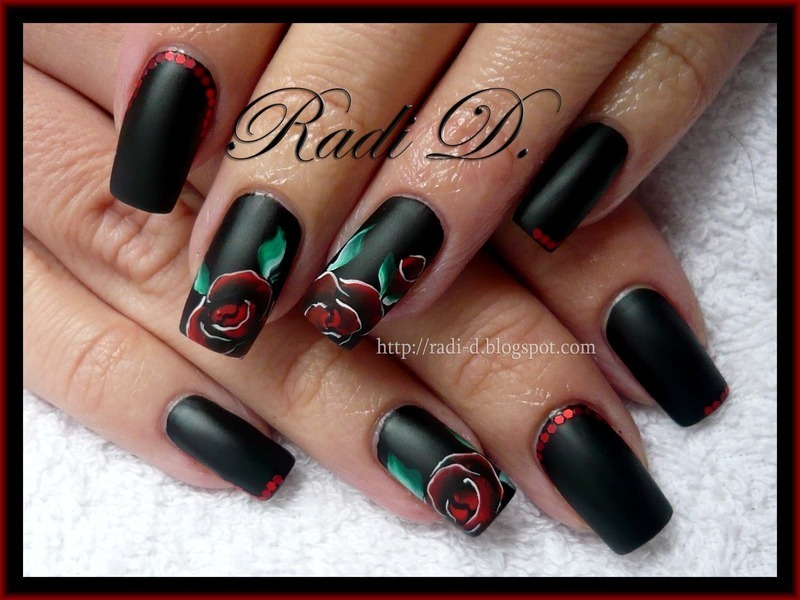 Black matte & Rose nail art by Radi Dimitrova