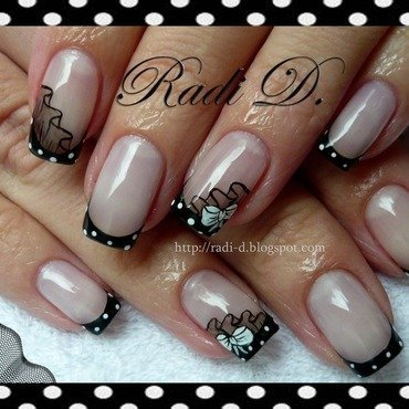 Polka Dot French nail art by Radi Dimitrova