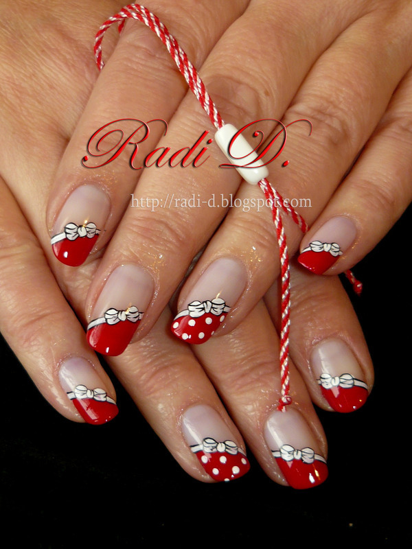 Red And White nail art by Radi Dimitrova