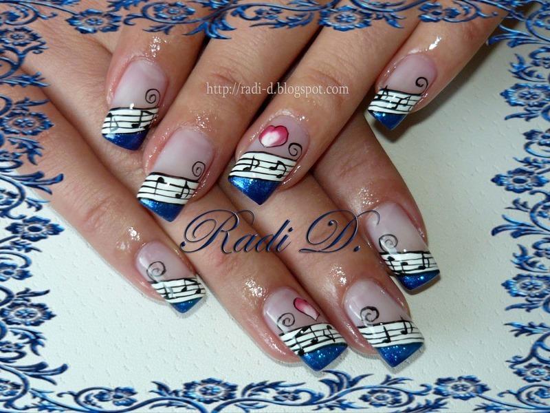 Notes & Hearts nail art by Radi Dimitrova