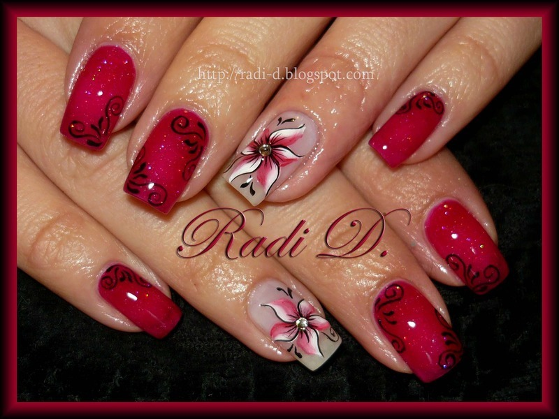 Red Sparkle nail art by Radi Dimitrova