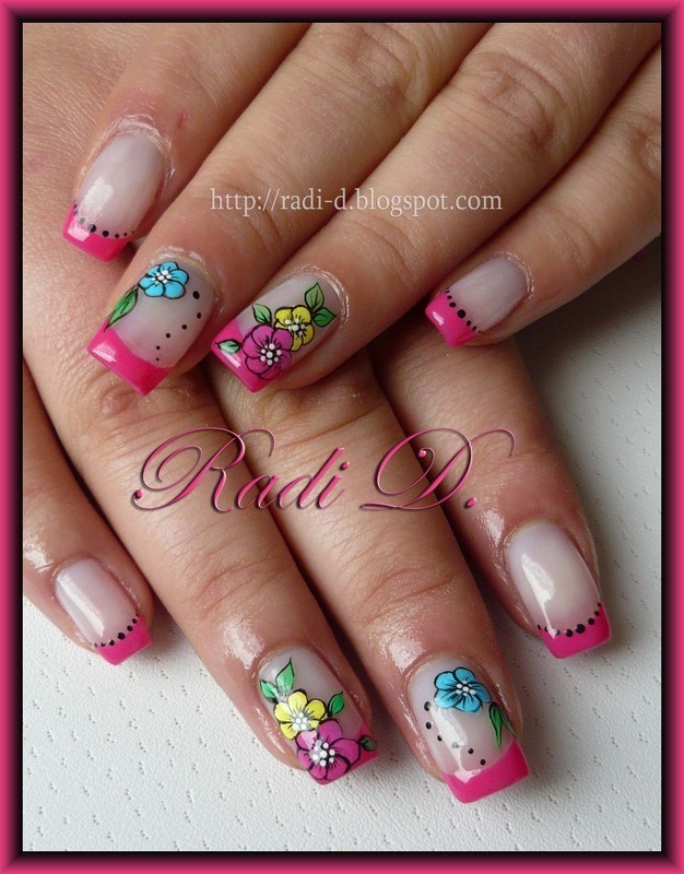 Hot Pink French & Flowers nail art by Radi Dimitrova