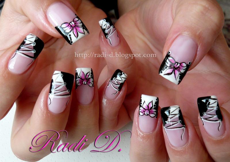 Corset and One Stroke Bow nail art by Radi Dimitrova